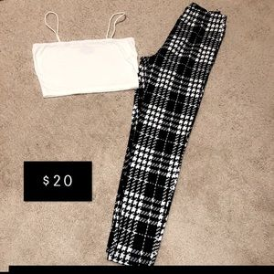 2pc White Crop Top and Plaid Pants Set